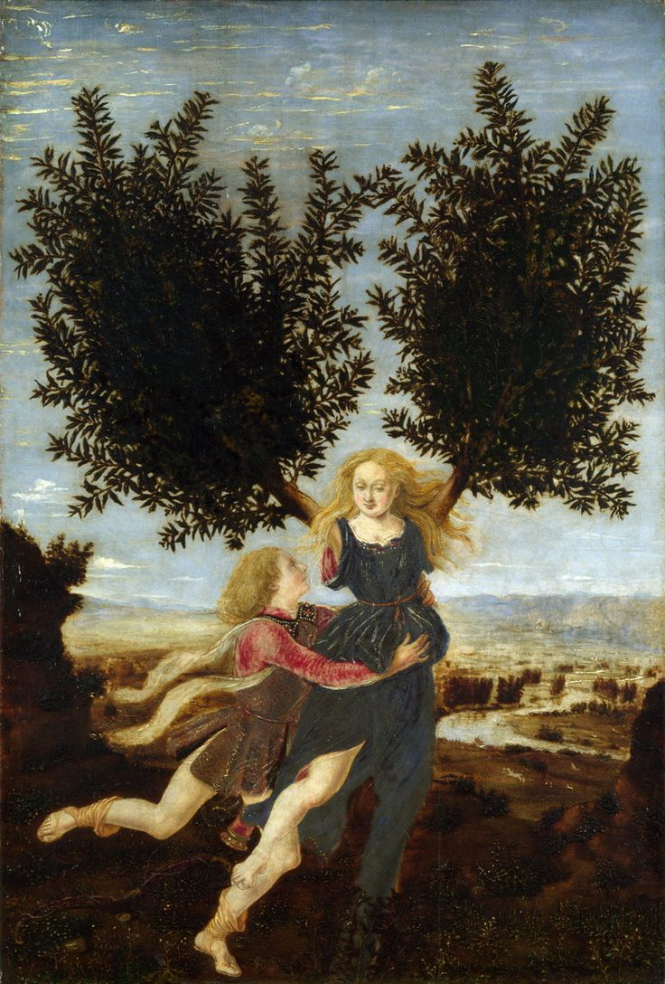 antonio del pollaiolo - apollo and daphne, tempera on panel, 1472-73 (national gallery, london)
