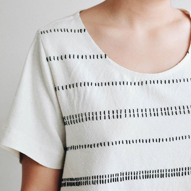 Banksia V1 inspiration // The Striped Tee. Hand embroidered, one stitch at a time. Hours upon hours poured into each top. Made just for you ❤️️. • Since this Top is so heavily handworked, it can take up to 8 weeks to be delivered to your door. Yet, if you order this week, we will make extra sure it arrives just in time for Christmas!