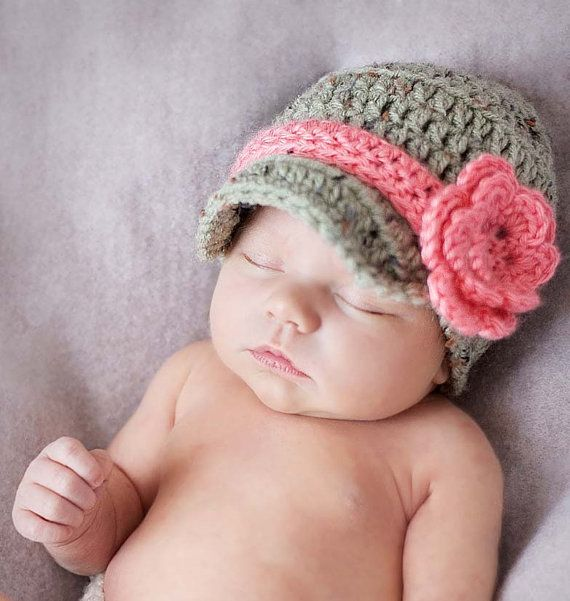 Baby Girl Hat, Baby Clothes, Infant Newsboy Hat With Flower, Crochet Infant Hat, Crochet Hat, Coming Home Outfit,  Crochet Clothes