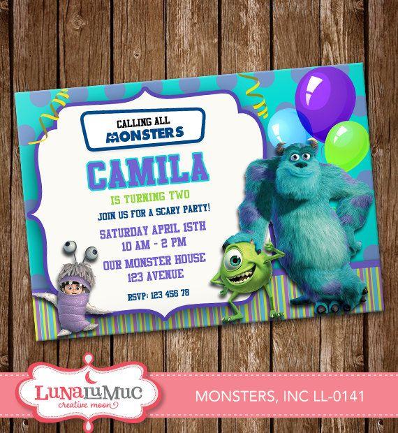 Monsters, Inc Invitation Card Party Invitation Birthday Card LL-0141