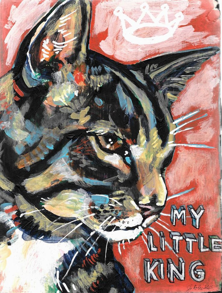original artwork, small, acrylic painting, by Juliana Coles, Little King cat by julianacoles on Etsy