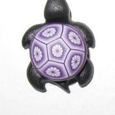 Pendentif tortue passiflore deco fleutrette violette