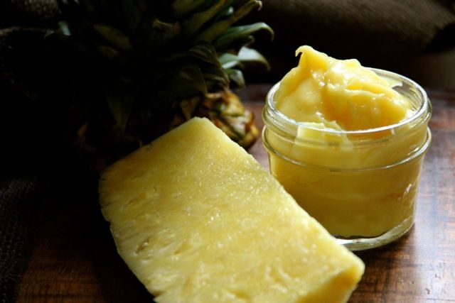 Pineapple Curd -1C pineapple puree, strained, 1/3C sugar, 3 egg yolks, 2T cornstarch, small pinch of salt, 2T butter -  In med saucepan, whisk together puree, sugar, egg yolks, cornstarch & pinch of salt. Turn heat to med & whisk constantly til mixture thickens. Remove from heat & whisk in butter til melted. Store in a glass jar, sealed, for up to 1 wk.*To make fresh pineapple puree put about 1/2 of fresh pineapple into blender on high til smooth. Strain puree thru wire sieve. Produces 1 C