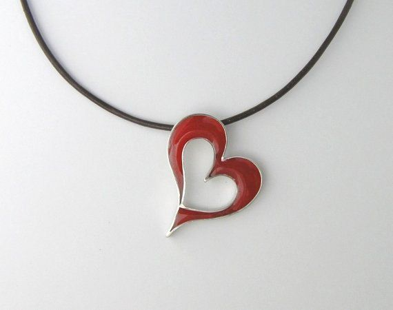 Silver and Resin Necklace  Red Heart Pendant by DaliaShamirJewelry, $58.00