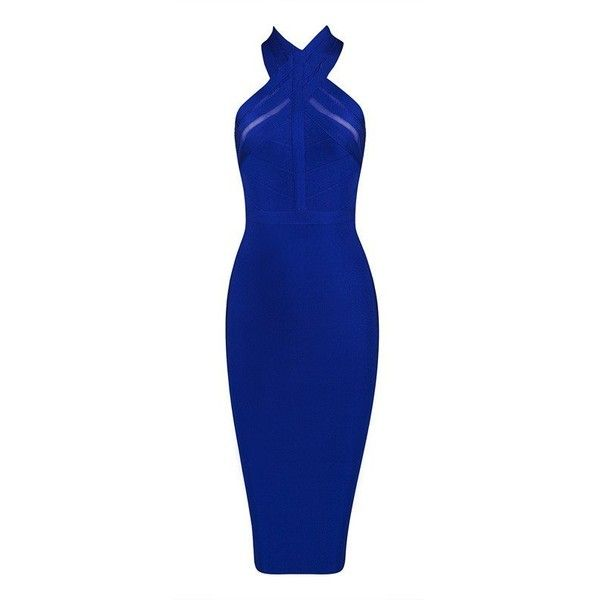 Royal Blue Halter Neck Bodycon Bandage and Mesh Dress Various Colours (115 AUD) ❤ liked on Polyvore featuring dresses, bodycon bandage dress, electric blue dress, cut out bodycon dress, bandage dress and backless bodycon dress