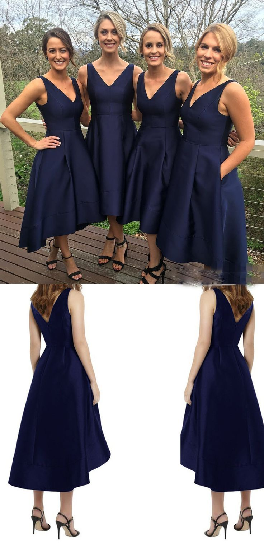 2017 Classic Short Bridesmaid Dress,A-line Bridesmaid Dresses,Simple Navy Blue Bridesmaid Dress,High Low Bridesmaid Dress,Bridesmaid Dresses,SVD338