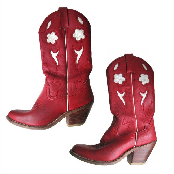Vintage rode cowboylaarzen