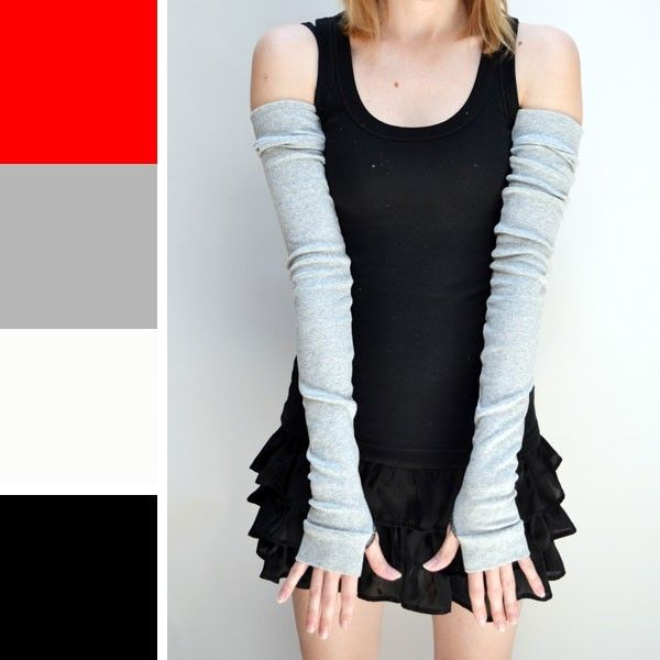 arm+warmers | Extra Long Grey Cotton Arm Warmers instead of a lo g sleeved shirt.. Add Steampunk  details later