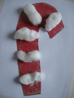 Cotton ball candy cane (could use syringe glue)