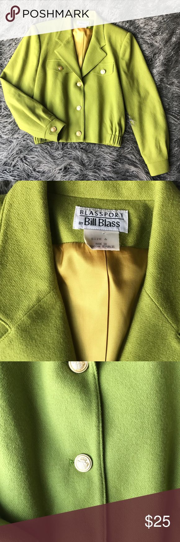 Vintage Bill Blass Wool Blazer w Gold Buttons Awesome Vintage Bill Blass Wool Blazer w Gold Buttons  Size 6 Great Condition  Chartreuse/Yellow/Green in Color Bill Blass Jackets & Coats Blazers