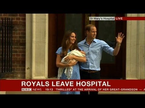 Royal baby boy: William and Kate present baby prince outside hospital - BBC News - YouTube