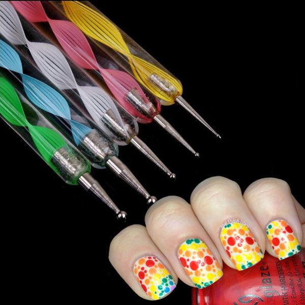 $3.99 5x 2way DOTTING Pen Marbleizing Tool Nail Art Dot Paint - BornPrettyStore.com