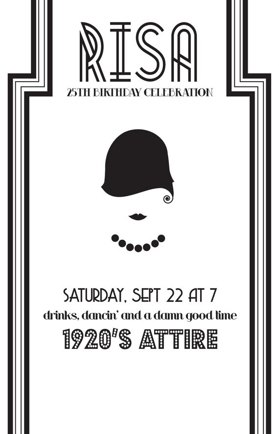 Cute Shower Idea! DIY 1920's Theme Party Invite by stellajenn on Etsy, $25.00