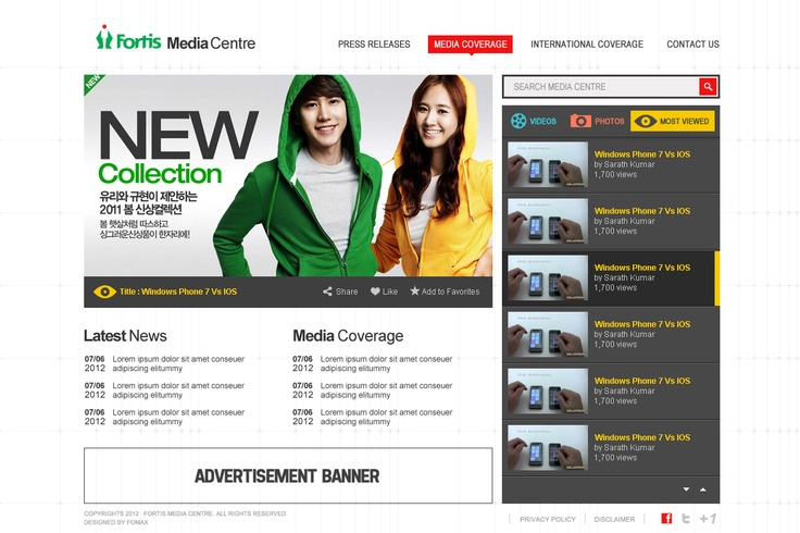 New Mediacenter web design concept for fortis healthcare by fomaxtech
