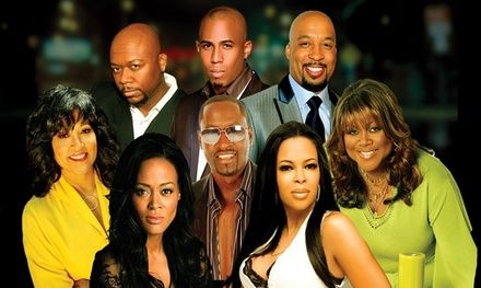 All-black cast, including Robin Givens and Jackée Harry, performs a stage play about an overly nurturing mother and her grown son