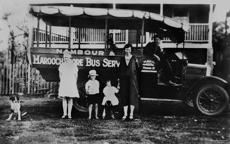 Nambour and Maroochydore Bus Service in 1929.Picture in photo are Isaac Gill and his wife,Catherine with family. 🌹