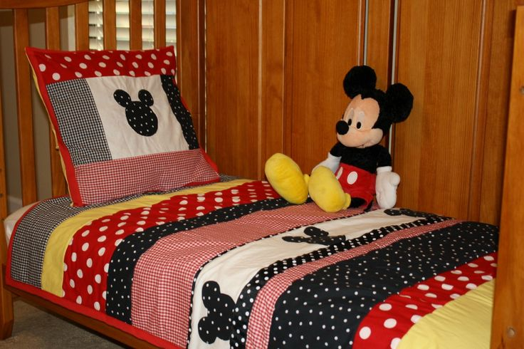 Custom Listing for Snazzysfa Mickey Mouse Inspired Crib or Toddler Bed Quilt Set.