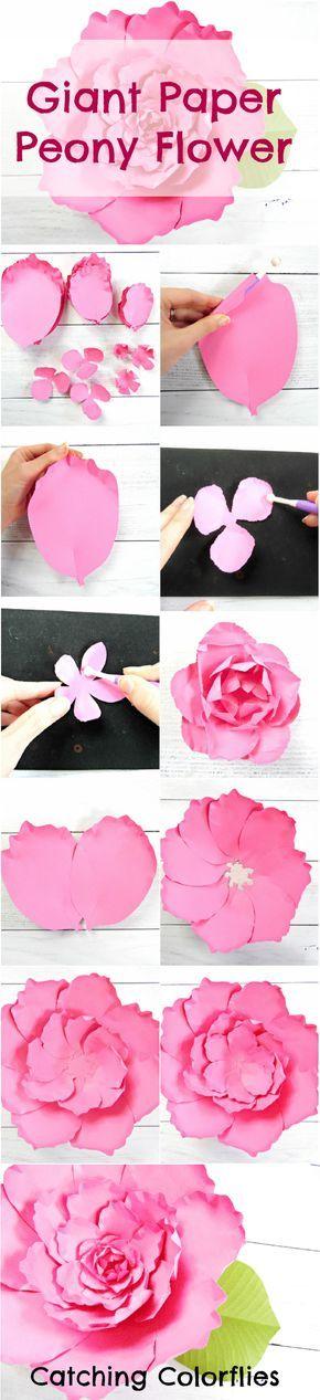 Giant paper peony flower tutorial. DIY paper flowers. Printable peony flower templates