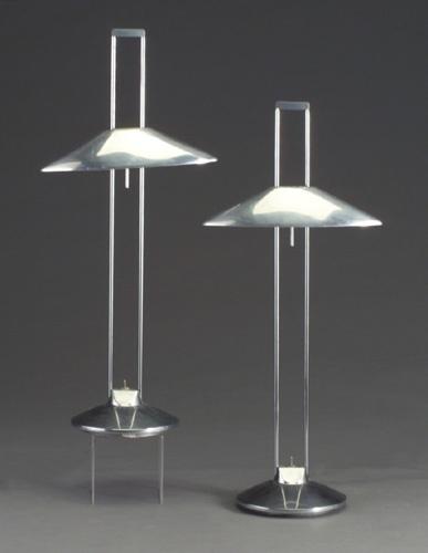 """Pair of early Jorge Pensi for B Lux """"Regina"""" aluminum desk lamps"""