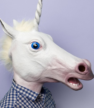"""Magic Unicorn Mask  IN STOCK NOW!  $40   checkout  wishlist     share    email  Who says unicorns aren't real? Prove everyone wrong with the delightfully realistic mask. Perfect for a costume party or just everyday errand runs, this unicorn mask, featuring a mane that will flow as you gallop through the wind, will fool everyone. 18"""" long w/ 23"""" neck opening."""