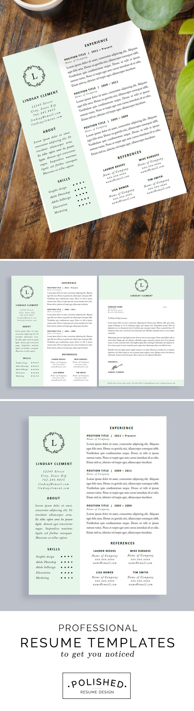 professional resume template and cover letter for word and pages one page instant download creative resume cv