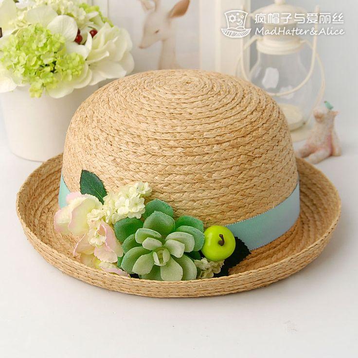 【童话】多肉植物 森女系拉菲草 卷边草帽夏天女 疯帽子与爱丽丝-淘宝网