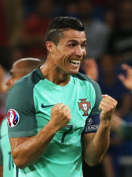 #EURO2016 Portugal's Cristiano Ronaldo reacts after winning the 2016 UEFA European Football Championship semifinal match against Wales at Stade de Lyon Team...