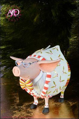 2014 Patience Brewster Krinkles, Norbert Dressed Up Pig Ornament