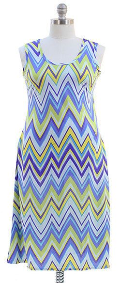 Pretty Plus size Chevron Maxi Dress - Blue 1X 2X 3X #NEWYORKANNA #Maxi #Formal