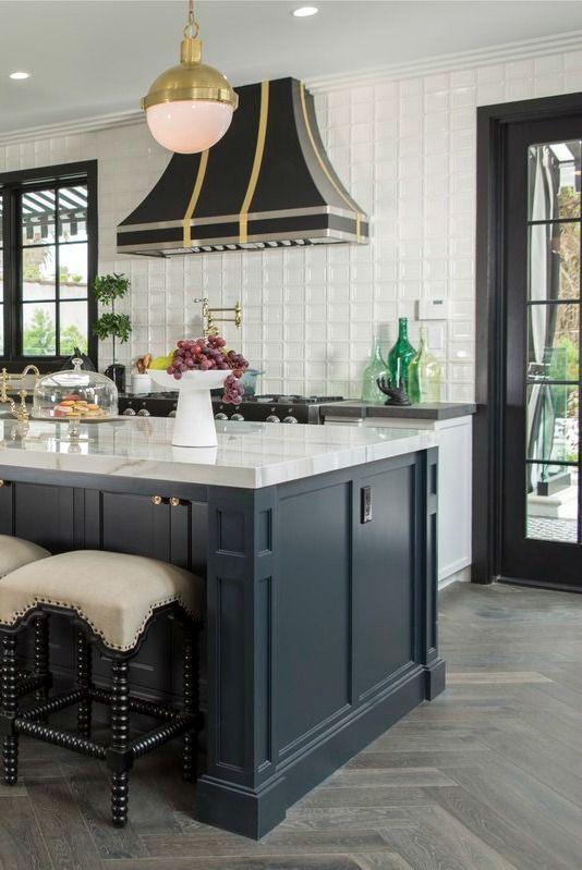 Black, white, and brass classic kitchen. Shop Drew's Honeymoon House! {Kitchen