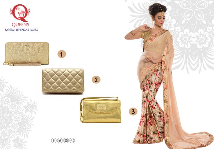 We're in love with this gorgeous evening saree and wondering which clutch to pair it with. Drop your suggestions in the comments below. #QueensEmporium #Saree