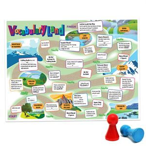 "Downloadable Vocabulary Land game board.  From ""11 Vocab Review Games."""