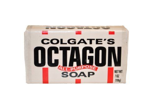 Octagon Soap 4 bars by palmolive colgate. $13.99. hand soap. acne remedy. best all purpose soap. Colgate's Octagon Soap is an old fashioned soap that is a versatile, economical choice for tackling an array of household tasks.  A single bar of simply packaged, long-lasting Octagon Soap can perform several tasks so you don't have to worry about buying multiple targeted products. Octagon was originally marketed as laundry soap (in the pre-washing machine era) but ...