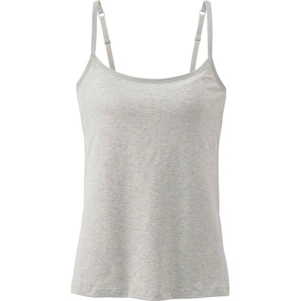 UNIQLO Women Bra Camisole ($15) ❤ liked on Polyvore featuring intimates, tops, tank tops, grey, cotton cami, cotton camisole, grey camisole and uniqlo