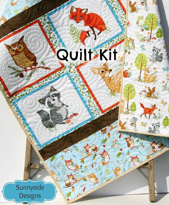 Woodland Quilt Kit Diy Project Forest Fellows Striped