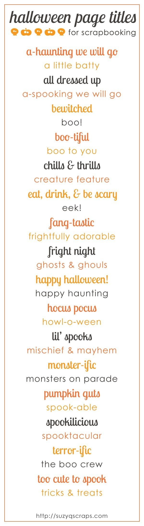 halloween scrapbook page titles by jacireese
