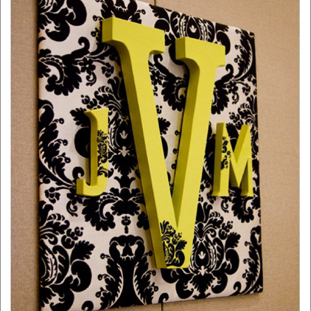 Foam Letters Wall Decor : Could use canvas or styrofoam and fabric scrapbook paper