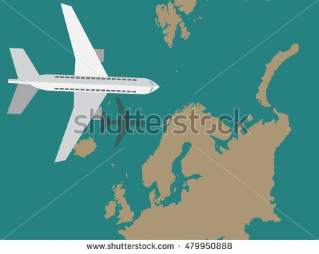 Flat design airplane traveling over a map vector illustration