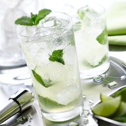 Mojito~ 1 can Mohito Frozen Bacardi Mixer,1 can Bacardi Rum, 2 cups Club Soda, Limes and Mint for garnish
