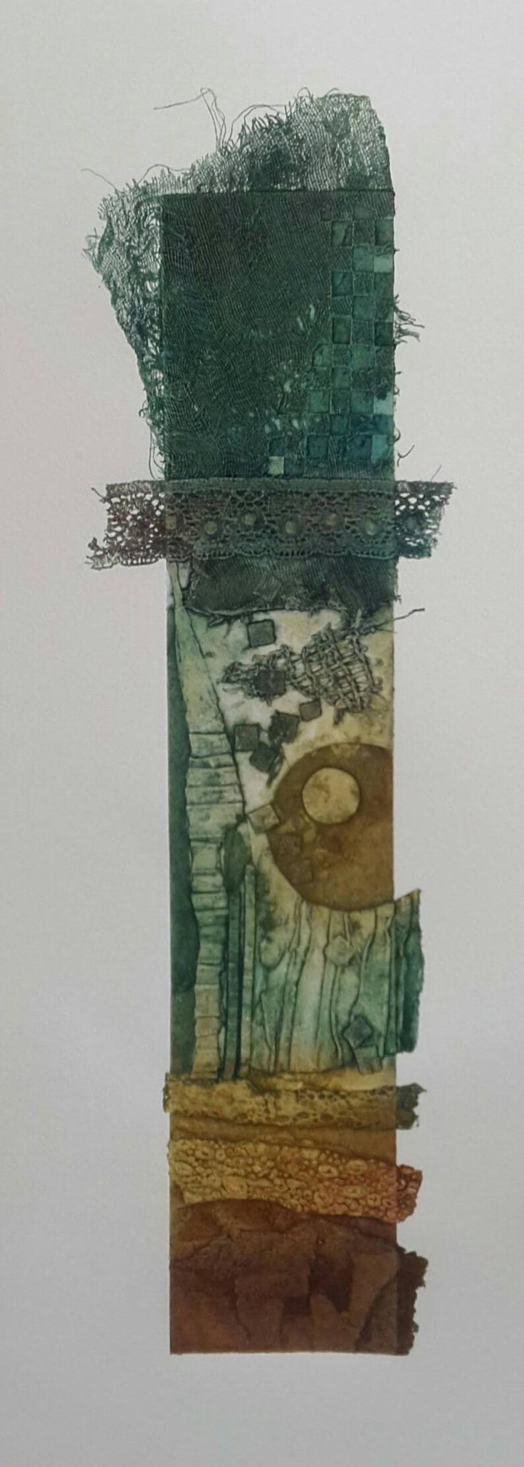Totem 1 Collagraph Print. Hand coloured Original Print built from snippets of corrugated card, lace, string and more.