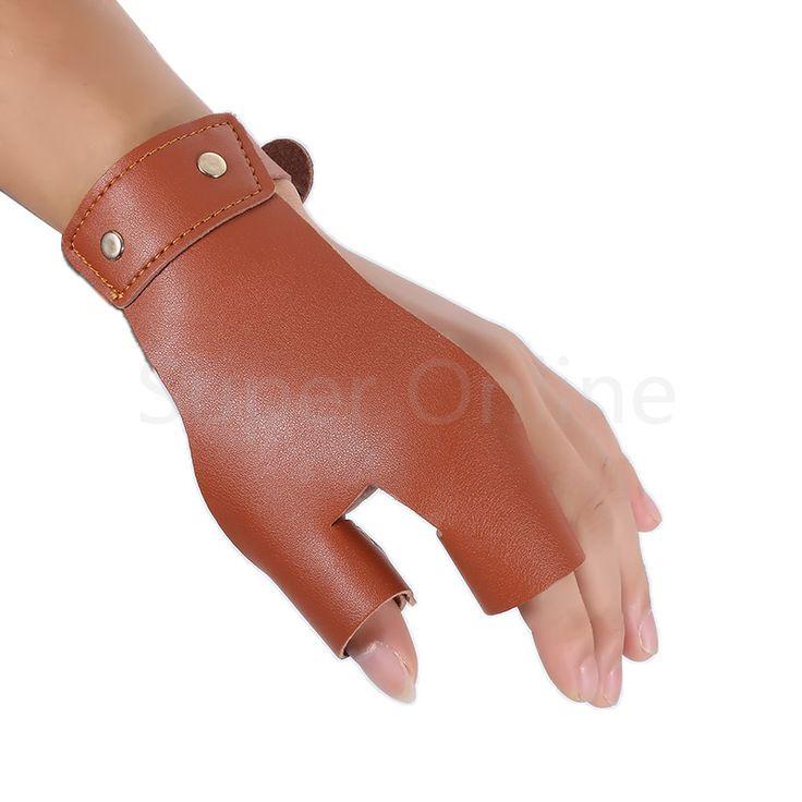 Lederen Linkerhand Boogschieten Boog Jacht Schieten Beschermende Finger Protector Guard Twee Vingers Beschermen Handschoen