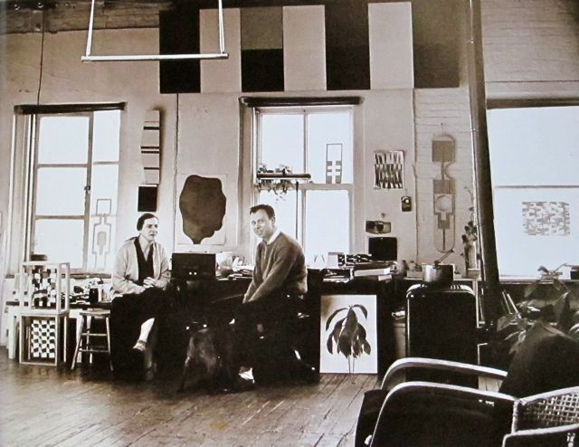 Ellsworth Kelly  3-5 Centies Slip  NYC  1957  Photo: Hans Namuth  (That is Agnes Martin to the left, she had a studio  in the same building.)