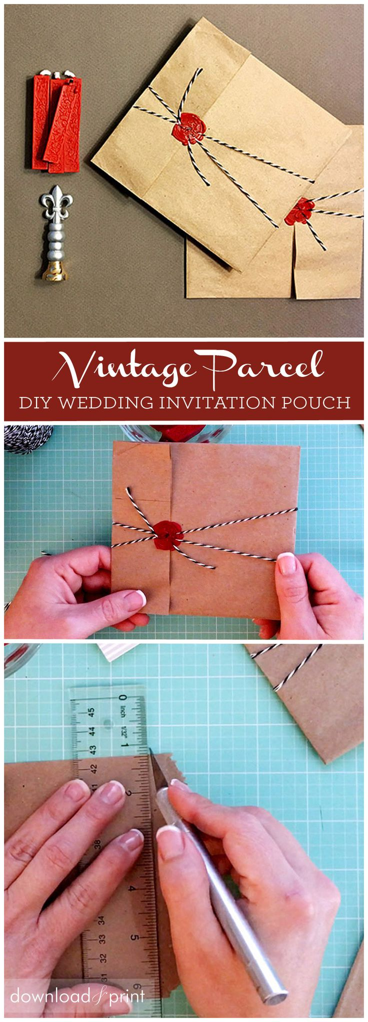 DIY vintage parcel wedding invitation pouch. Use a kraft bag, bakers twine and wax seal to create a cute vintage pocket for your invites.