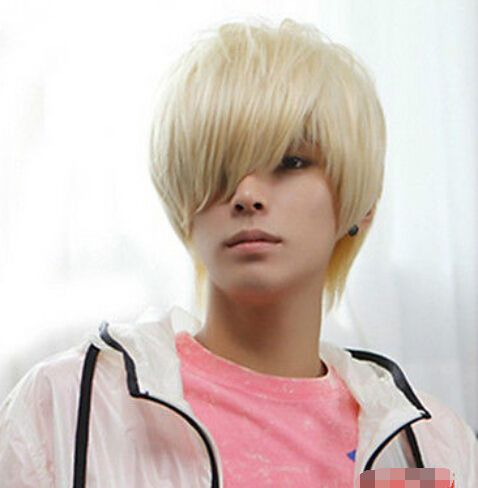 Envío gratis >> > chicos guapos peluca nueva de moda coreana Short Men Light Blonde Hair Cosplay pelucas