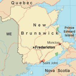 New Brunswick is the largest of Canada's three Maritime Provinces and mainly surrounded by coastline.