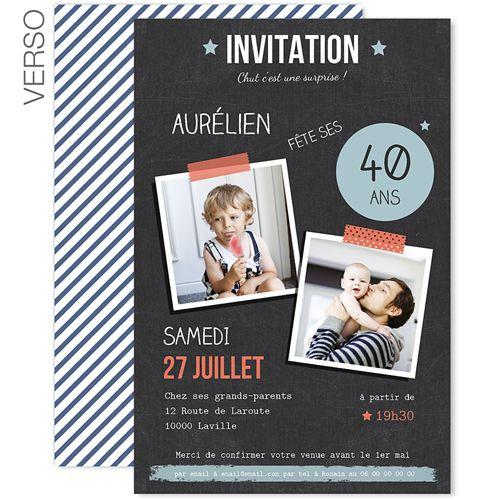 Invitations Anniversaire Adulte - Pop 40 ans 42990