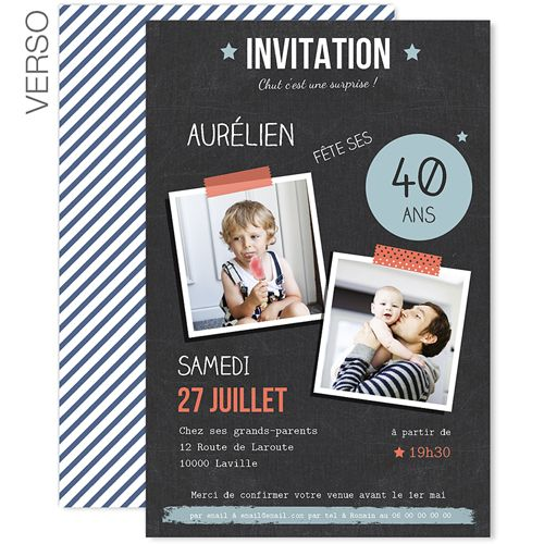 invitations anniversaire adulte pop 40 ans 42990 carte invitation v nementiel pinterest. Black Bedroom Furniture Sets. Home Design Ideas