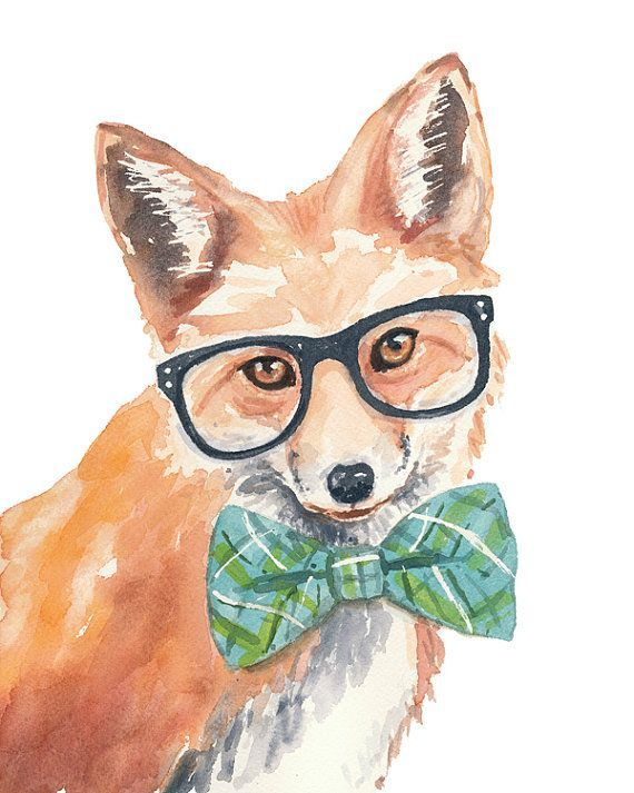Original Fox Watercolor Painting - 8x10 Watercolour, Hipster Glasses, Bow Tie, Nerdy Animal: