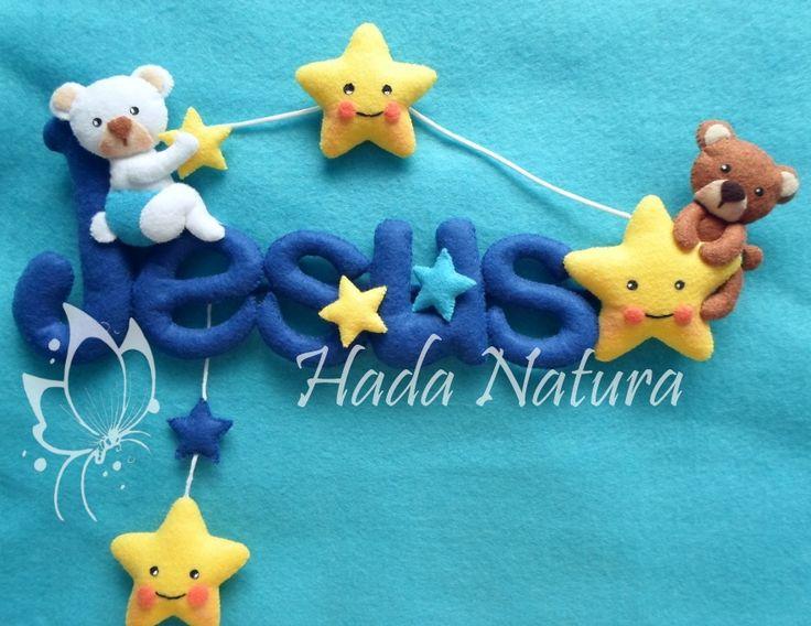Nombre en fieltro para Jesús: http://hadanatura.blogspot.com.es/2014/11/jugando-entre-las-estrellas.html