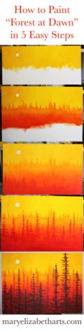 """♦ How to Paint """"Forest at Dawn"""" Painting in 5 Easy Steps. By MaryElizabethArts.com"""